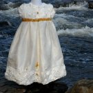 Silk and Satin Handmade Rosette Christening Baptismal Baby Blessing Gown Sz 0 Preemie