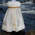 Silk and Satin Handmade Rosette Christening Baptismal Baby Blessing Gown Sz 0 Preemie