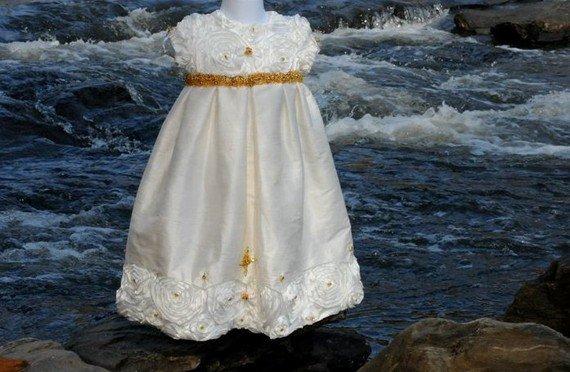 Silk and Satin Handmade Rosette Christening Baptismal Baby Blessing Gown 18 Months