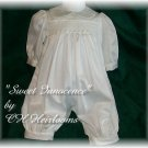 Sweet  Custom Cotton Satin Boys Smocked Romper 6 Months