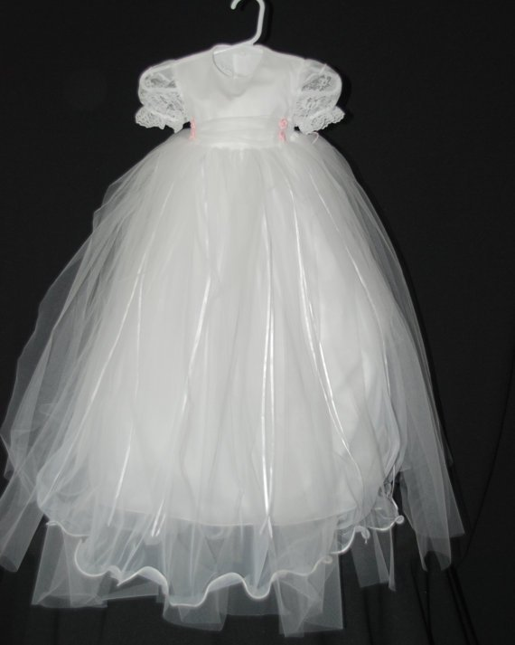 Rachel Custom Cotton and Tulle Tutu Style Christening Gown 6-9 Months
