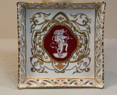 """GORGEOUS FRENCH PORCELAIN HAND PAINTED 9"""" CIGAR ASHTRAY"""