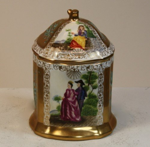 GORGEOUS HAND PAINTED FRENCH PORCELAIN TOBACCO JAR