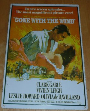 VINTAGE 1967 EMBOSSED TIN SIGN of GONE WITH THE WIND