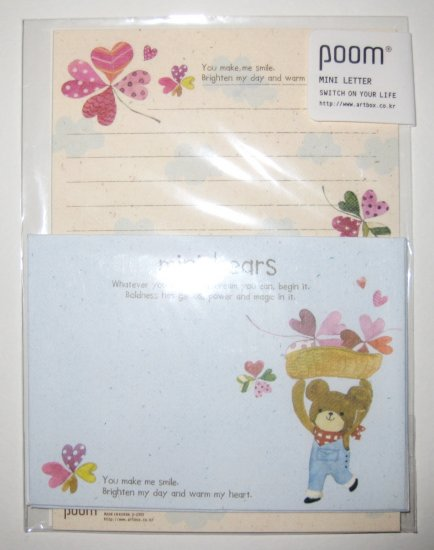 Cute Blue Teddy Bear Clover Letter Set