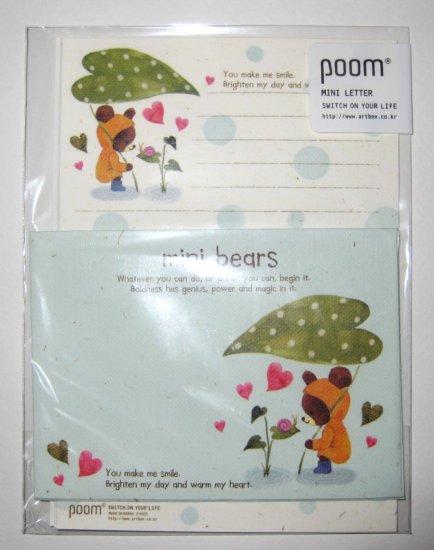 Cute Green Leaf Teddy Bear Letter Set