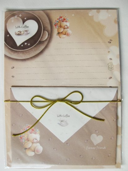 With Coffee Forever Friend Bear Letter Set