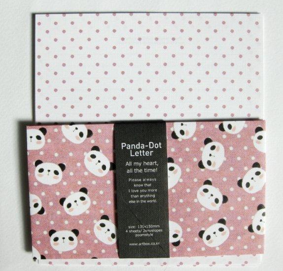 Cute Artbox Pink Panda Polkadot Letter Set