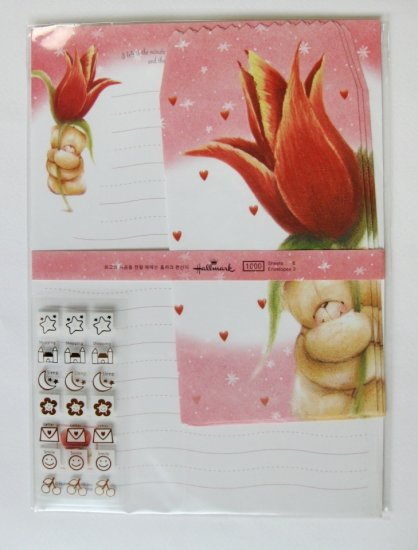 Cute Red Tulip and Forever Friend Bear Letter Set
