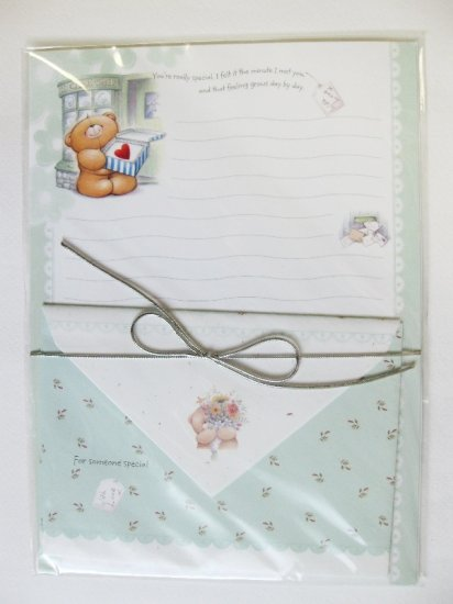 Cute Green Forever Friend Bear and Cake Shop Hallmark Korea Letter Set