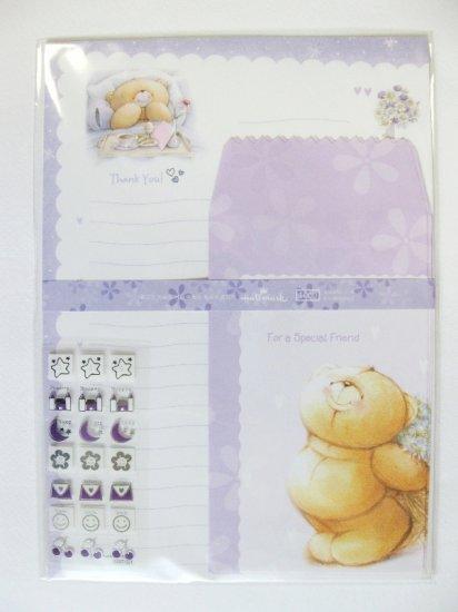 Cute Purple Forever Friend Bear Breakfast On Bed Hallmark Korea Letter Set