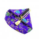 Womens Oriental Satin Brocade FROG Coin Purse Wallet Violet SW014