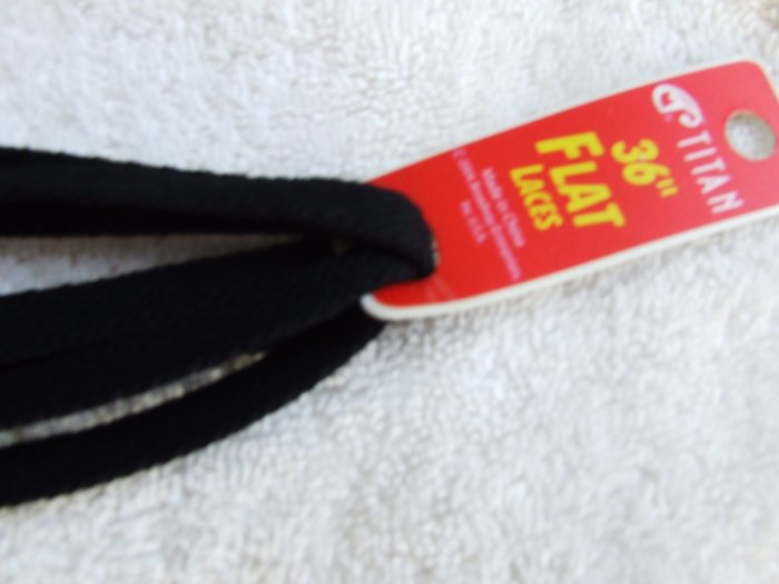 "Black Cotton Flat 36"" Shoelaces (36 inch) Great for Athletic Shoes - All Cotton, 100% Cotton"