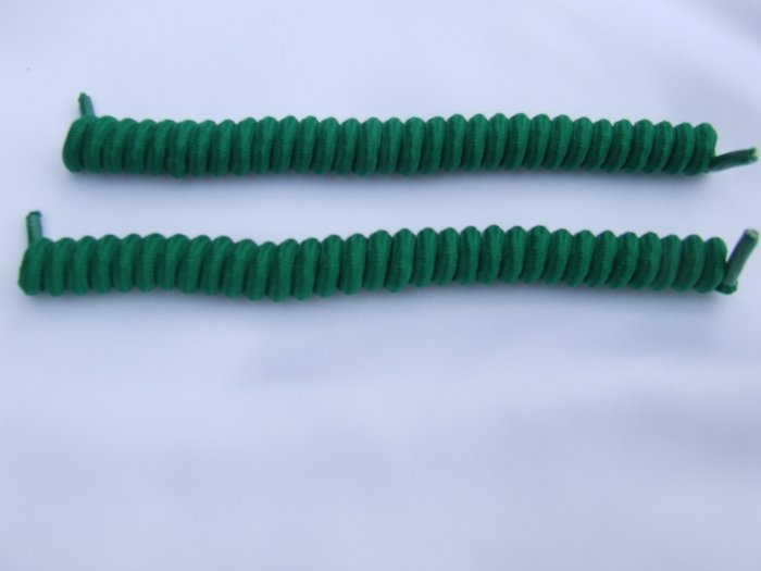Kelly Green Elastic Stretch Curly Shoelaces - Spring Laces, Coilers, NO-TIE