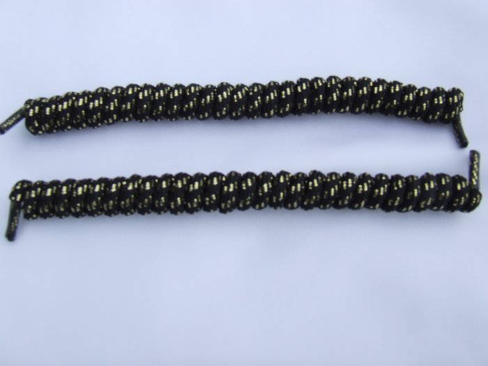 Black with Gold Glitter Elastic Stretch Curly Shoelaces - Spring Laces, Coilers, NO-TIE