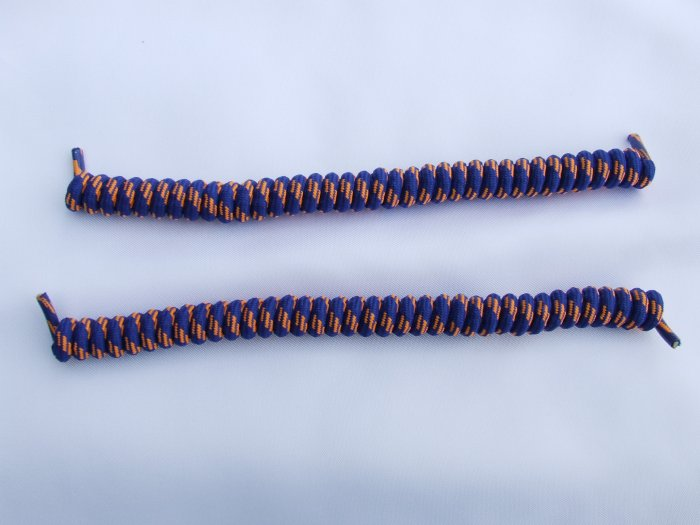 Blue with Orange Elastic Stretch Curly Shoelaces - Spring Laces, Coilers, NO-TIE