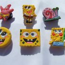 SpongeBob Shoe Charms Croc Decorations Includes Patrick, Spongebob, Gary - Set of 6