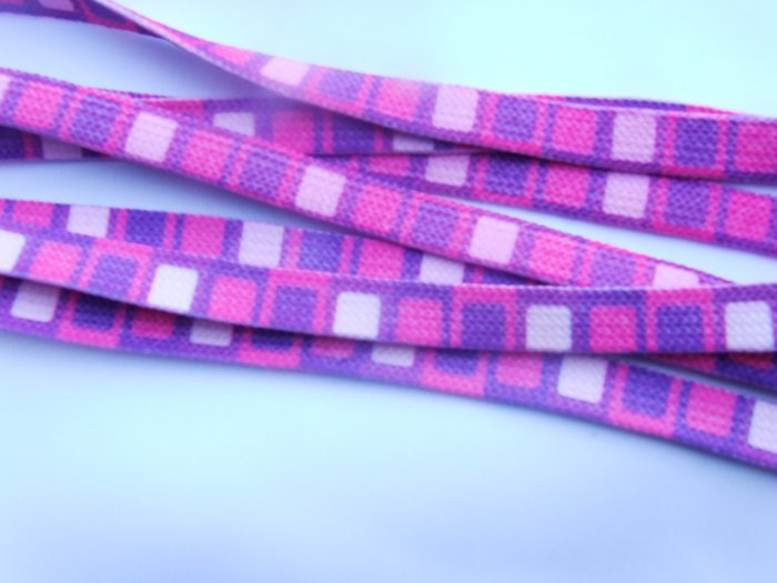 "Purple / Pink Square Pattern 48"" Shoelaces, Wide, Fat"