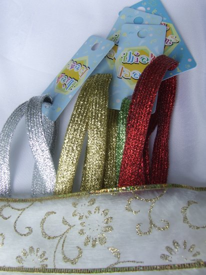 """Gltter Shoelaces - SET OF 4  Red,Gold,Silver, Green Glitter 43"""" Shoelaces"""
