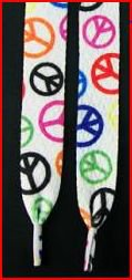 Cool Peace Sign Shoelaces with Black, Pink, Yellow, Orange, Red, Blue Peace Signs Shoelaces 47 in