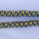 Blue and Yellow Curly Laces, U Of M Shoelaces, Blue Maize Gold Elastic Shoelaces