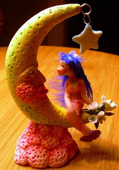 Hand Made Artist Original Polymer Clay Figurative Art Sculpture Title Moon Mermaid#PR00288
