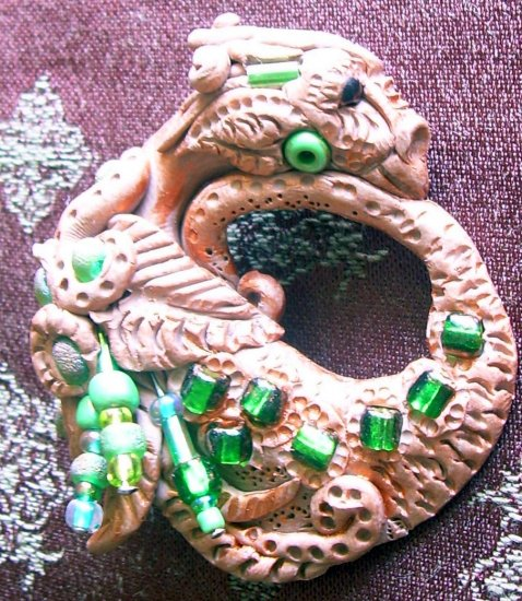 Handcrafted Original Art Sculpture Polymer Clay Jewelry Dragon Brooch ITEM#PR00324