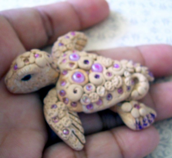 Handcrafted Original Art Sculpture Polymer Clay Jewelry Sea Turtle Brooch PR00325