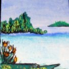 ACEO Original Art Card the size 3.5 inches by 2.5 inches of a trading card Title Peace