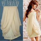 New drap front chiffon&cotton mini party dress top One size