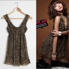 Sexy leopard flouching chiffon party dress One size