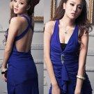 Sexy v-neck dimond brooch backless mini dress top one size