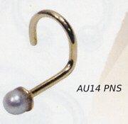 14k Gold Pearl Nostril Stud