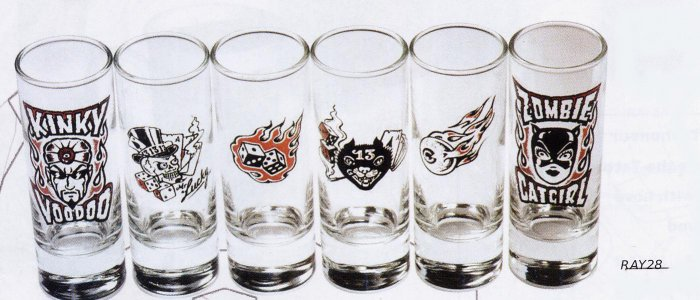 Shot Glasses - Set of 6 Tattoo Designs