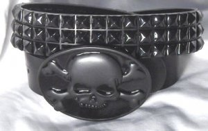 Black Leather Belt with Black Studs and Skull Buckle