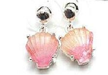 Unique Pink 2-Tone SEASHELL Mermaid Earrings
