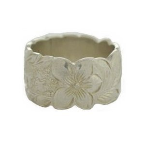 Hawaiian Heirloom Jewelry 12mm Cut Out Edge Silver Ring