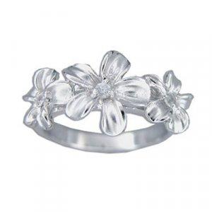 Three Plumeria Flower Hawaiian Jewelry Cubic Zirconia Silver Ring