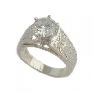 1.5 ct CZ French Mount Ring Sterling Silver Hawaiian Jewelry