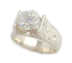 1.5 ct CZ French Mount Silver Hawaiian Heirloom Jewelry Ring