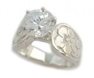 2.0 ct CZ French Mount Silver Hawaiian Jewelry Engagement Ring