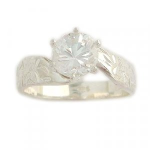 1.0 ct CZ sterling Silver Hawaiian Heirloom Jewelry Ring