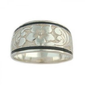 10mm Hawaiian Jewelry Black Border Sterling Silver Ring