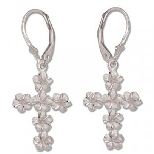 Plumeria Flower Cross 14K White Gold Lever Back Earrings