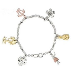 Sterling Silver with Platinum Finish Hawaiian Charm Bracelet