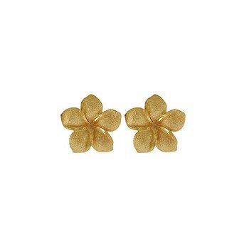 Plumeria Flower 14K Yellow Gold Extra Small Hawaiian Earrings