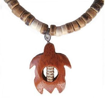 Hawaiian Koa Wood Turtle Light Brown Coconut Necklace