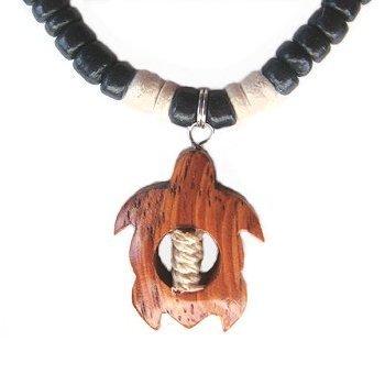Hawaiian Koa Wood Sea Turtle Black Coconut Necklace