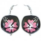 Hawaiian Kukui Nut Earrings with Pink Hawaii Flowers