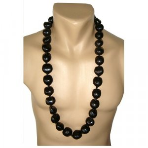 "Hawaiian Jewelry Black Kukui Nut Shell 32"" Necklace"